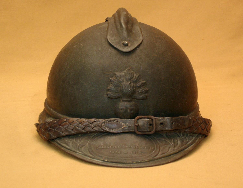 Casque Adrian 1915, officier d'infanterie, plaque nominative.